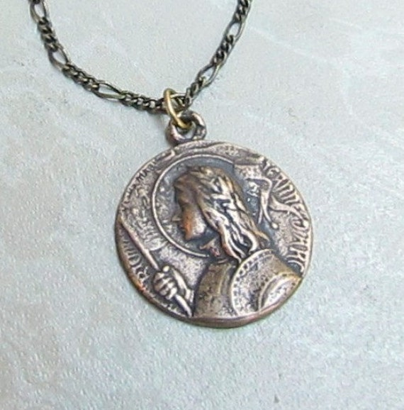 St Joan of Arc Bronze Catholic Medal Necklace Patron of France Girls and Soldiers