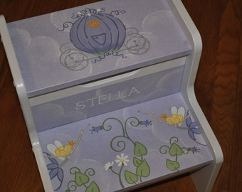 Custom Fairy Princess Coach Lavender kids step stool
