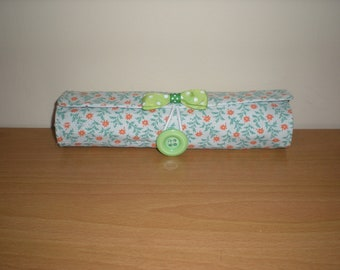 Brush roll/Pencil roll/Travel accessory lime orange floral print  holds 13 brushes machine washable