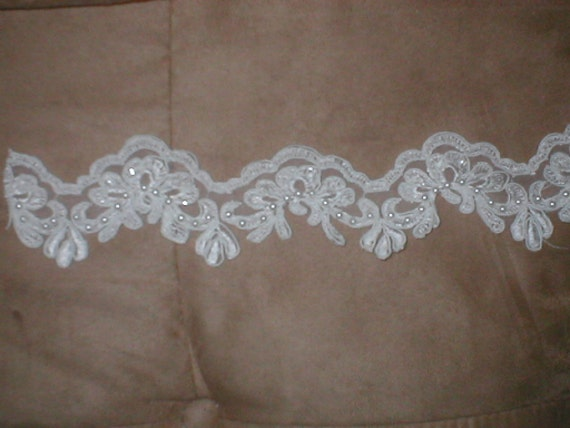 Beaded Alencon Lace Border Trim