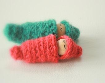 Woodland Baby Gnomes - Wooden Peg Doll Set of 2 Boy And Girl - Wool Waldorf Baby - Unique Gift - Stocking Stuffer - Zooble