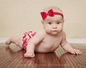 Red Infant Newborn Hairbow Headband  Hair bow Headband rhinestone bling Newborn  Photo Prop Headband pink red black brown