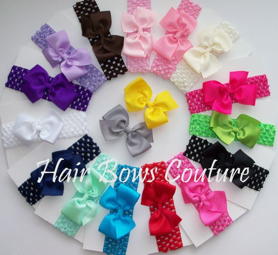 Set of 20 - Hairbows with matching interchangeable Headbands  Hairbow headbands with interchangeable crochet headbands