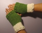 Green and White or Pick Your Colors Hand Knit Fingerless Gloves - Green and White Hand Knit Fingerless Gloves