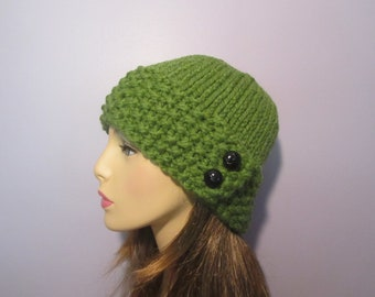Choose Your Color and Buttons Hand Knit Hat