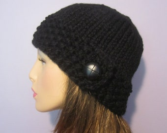 Black or Pick Your Color Hand Knit Hat
