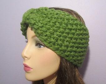 Turban Headband Earwarmers, Green Retro Hand Knit Headband - Thick and Warm