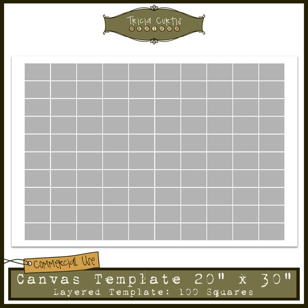 20 x 30 canvas template 100 squares collage sheet for Photo collage number templates