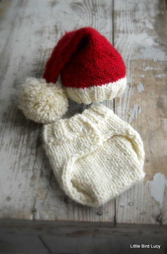 Items Similar To Baby Knit Santa Elf Hat Set Christmas
