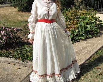 Vintage Victor Costa Cross-Stitch White Chiffon Maxi  Boho Dress