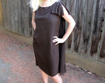 Vintage 1960s Brown Silk Sheath Cocktail Dress with Satin Rosette Belt