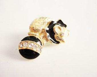RARE circus bear  TRIFARI pin brooch rhinestones and black enamel