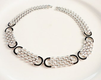 silver collar necklace semi rigid flat with black enamel retro classic jewelry