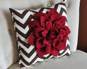 Cranberry Dahlia on Brown and Natural Zigzag Pillow -Chevron Pillow-16 x 16