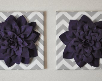 "TWO Wall Flower -Deep Purple Dahlia on Gray and White Chevron 12 x12"" Canvas Wall Art- Baby Nursery Wall Decor-"