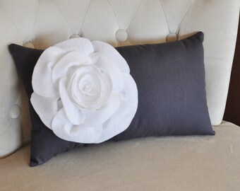 Charcoal Lumbar Pillow White Rose on Dark Gray Lumbar Pillow 9 x 16