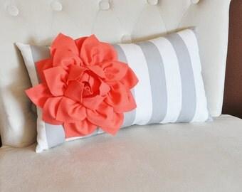 Pillows -  Decorative Pillow - Stripe Lumbar Pillow Coral Dahlia on Gray and White Striped Lumbar Pillow 9 x 16