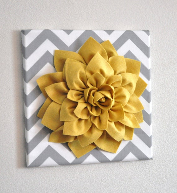 Yellow Flower Wall Art wall flower mellow yellow dahlia on gray and white chevron 12
