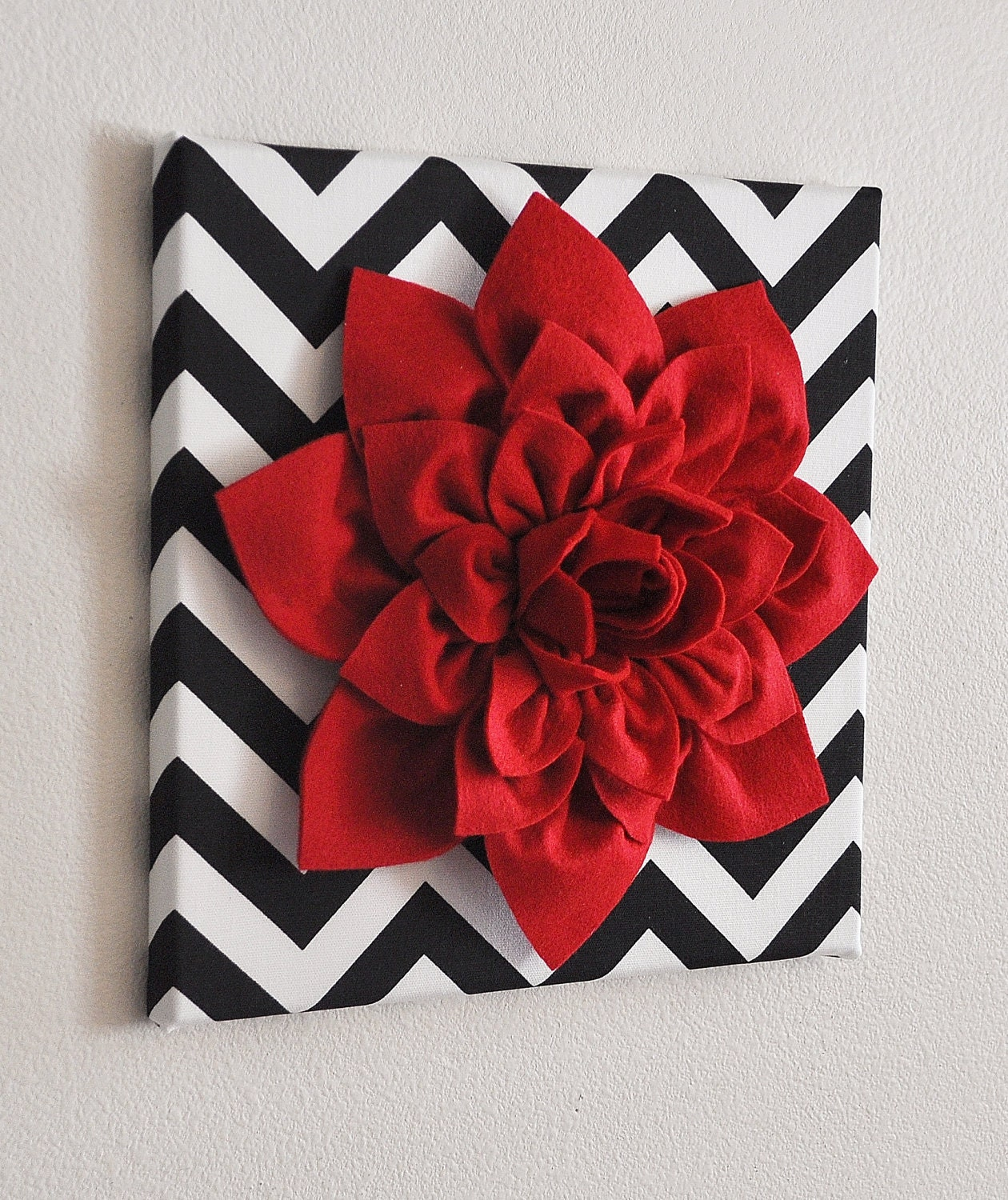 Wall art for red bedroom : Red wall flower dahlia on black and white chevron by