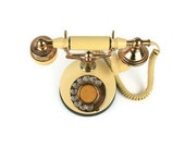 Vintage Telephone Princess Style Lemon Yellow Gold Photo Stage Prop Rotary Dial Cord