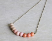 repurposed and vintage ombre necklace // coral, light pink, beige beads // coral ombre necklace