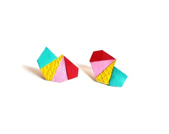 Modern Geometric Post Stud Earrings, Triangle Leather Earrings, Turquoise Pink Yellow Red Earrings, Primary Color Earrings