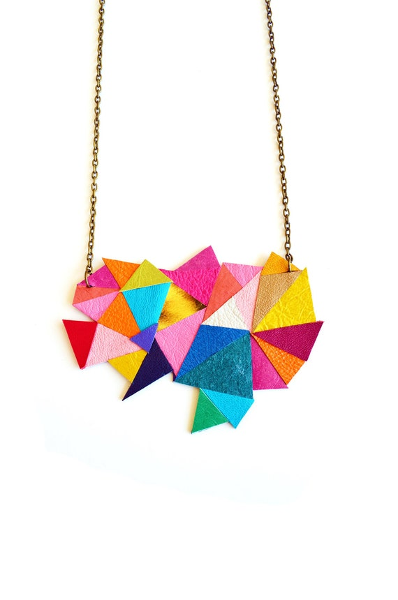 Neon Geometric Necklace Color Block Triangles