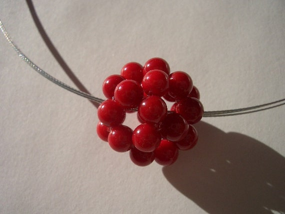 Coral pendant on a wire necklace, coral sphere, coral cluster, coral beads, coated wire, silver wire, gemstone beads