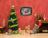 Christmas art print with woodland animal diorama, red and green: Cozy Christmas