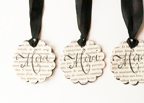 Reversable Gift Tags handmade from Vintage French Novel and stamped with Merci in black and ivory