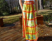 FRONT PAGE SALE!!!!  Vintage 70s Maxi Skirt, Quilt Blocks, Gregg Draddy, medium to large