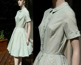 Vintage Pale Mint Green Dress, full cupcake dress from Hong Kong, medium