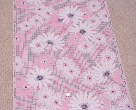 Vintage Floral Wallpaper Pink Gray Daisies And Plaid 1960s
