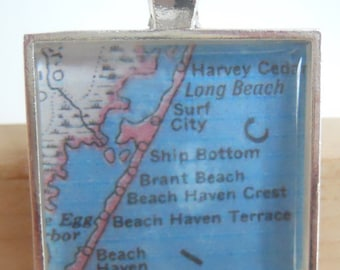 Long Beach New Jersey Map Pendant