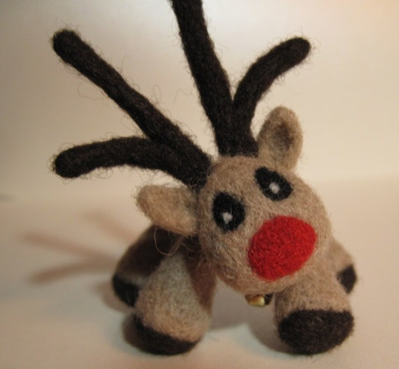 Special Order for Wendy - Christmas Reindeer with Red Nose - Wool Figurine