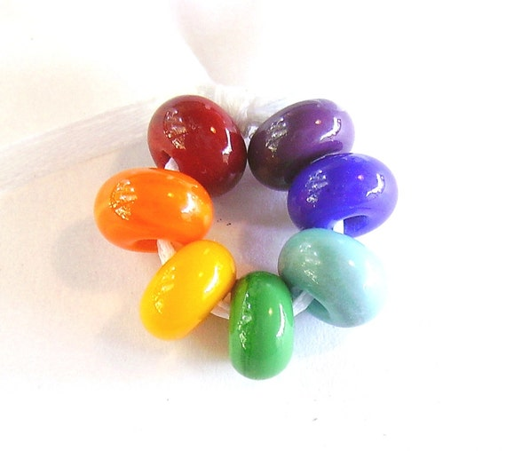 Rainbow Lampwork Spacers