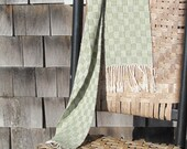 Green Woven Scarf, Classic Style Urban City Country Beach Rustic Cottage Mens Womens Fashion, Artisan Handwoven Light Avocado Sage & White