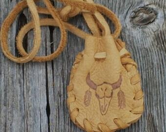 Leather medicine bag , Buffalo totem , Shamans medicine bag , Neck strap bag
