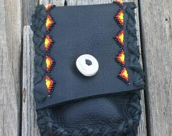 Hip bag , tribal bag , Beaded leather hip bag , Leather hip bag , Phone case ,  Hand beaded , Beaded bag , Black Leather