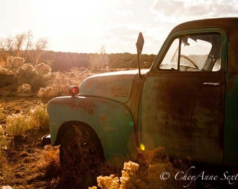 Hot Old Teal Chevrolet Pickup in farm field New Mexico summer landscape - photographic giclee 8x12