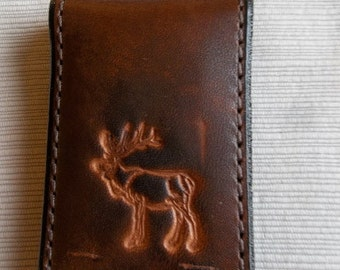 Leather Money Clip with Elk