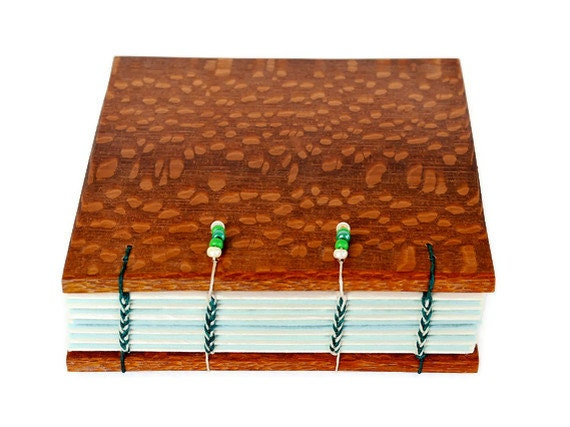 Wood Covered Handcrafted Journal Coptic Bound 5x 5 Inches