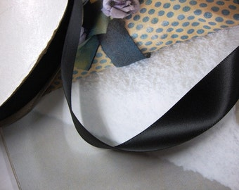 """25 yards 7/8"""" width black satin ribbon trim for your crafts projects and fashion designs"""