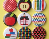 Teacher Magnets - Set of Nine 1.25 Inch Button Magnets Packaged in a Custom Box