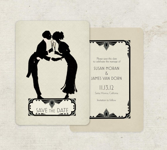 art deco vintage save the date cards or deco wedding. Black Bedroom Furniture Sets. Home Design Ideas