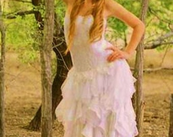 Short Wedding Dress, Handemade Tea Length Wedding Gown, Handkerchief Tiered  Lace and Satin Strapless Bridal Dress