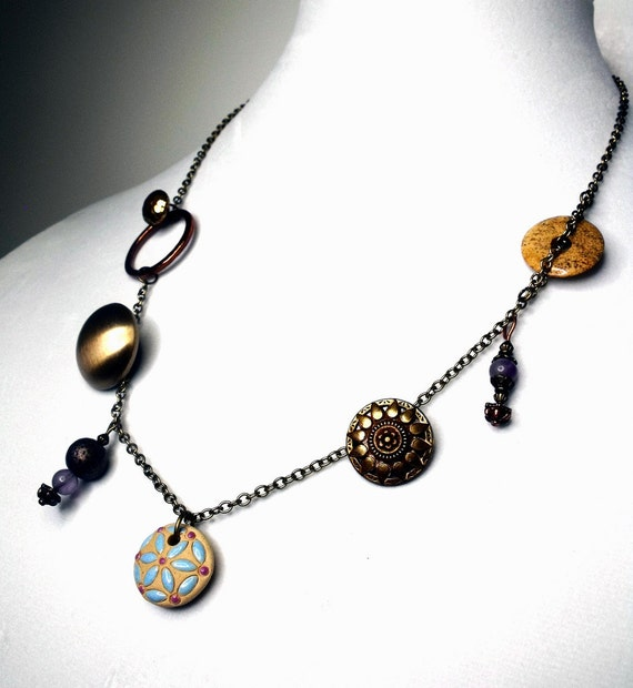 Golden Hour Necklace--Vintage Brass Buttons, Amethyst Dangles, Jasper Donut, Clay Pendant, Earthtones, Natural, Warm, Sand