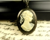 Cameo Necklace Black and White Victorian Cameo Queen Victoria Jewelry - Anniversary Gift for Her