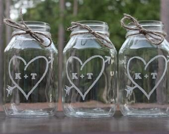 2 Quart Mason Jar,  Wedding Center Piece, Engraved, mason jars, Personalized Wedding Vases, Wedding Keepsake,