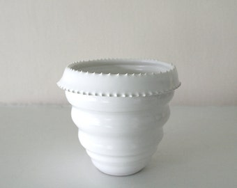 "White Stoneware Vessel With Undulating Form and Spikes / Hand Thrown and Altered Piece / ""PURE SPIKE"""